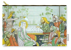 Sher A Punjab Sikh Maharaja Ranjit Singh Court Scene Miniature Painting Of India Watercolor Artwork Carry-all Pouch
