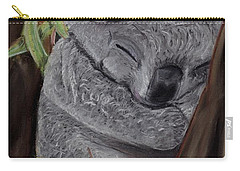 Carry-all Pouch featuring the pastel Shhhhh Koala Bear Sleeping by Kelly Mills