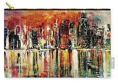 Carry-all Pouch featuring the painting Shimmering City Night Lights by Belinda Low