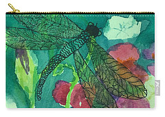 Shimmering Dragonfly W Sweetpeas Square Crop Carry-all Pouch
