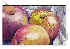 Carry-all Pouch featuring the painting Shine On 3 Apples by Kris Parins