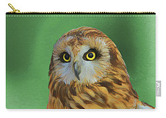 Short Eared Owl On Green Carry-all Pouch by Dan Sproul