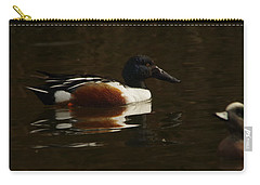 Carry-all Pouch featuring the photograph Shovel Tail And A Wigeon by Jeff Swan