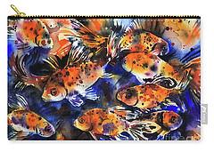 Carry-all Pouch featuring the painting Shubunkin Goldfish by Zaira Dzhaubaeva