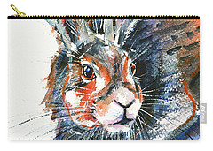 Carry-all Pouch featuring the painting Shy Hare by Zaira Dzhaubaeva