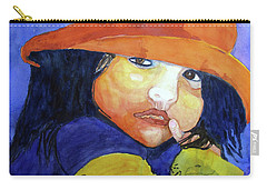 Carry-all Pouch featuring the painting Shy Senorita by Sandy McIntire