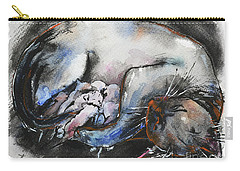 Carry-all Pouch featuring the painting Siamese Cat With Kittens by Zaira Dzhaubaeva