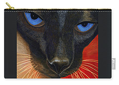 Carry-all Pouch featuring the painting Siamese by Karen Zuk Rosenblatt
