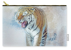 Carry-all Pouch featuring the digital art Siberian Tiger In Snow by Brian Tarr