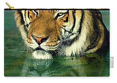 Siberian Tiger Reflection Wildlife Rescue Carry-all Pouch by Dave Welling