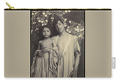 Carry-all Pouch featuring the painting Sicilian Boy And Girl Before Floral Textile by Artistic Panda
