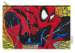 Carry-all Pouch featuring the drawing Spider-man Illustration Edition by Justin Moore