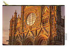 Carry-all Pouch featuring the photograph Siena Italy Cathedral Sunset by Joan Carroll