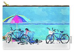 Siesta Key Beach Bikes Carry-all Pouch by Susan Molnar