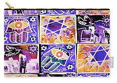 Silberzweig - Scenes Of Israel - Sapphire Coral -  Carry-all Pouch by Sandra Silberzweig