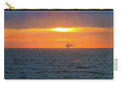 Silhouetted Oil Drilling Platform  Carry-all Pouch by Allan Levin