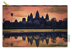 Silhouettes Angkor Wat Cambodia Mixed Media  Carry-all Pouch