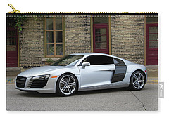 Carry-all Pouch featuring the photograph Silver Audi R8 by Joel Witmeyer