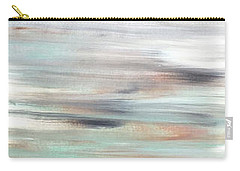 Silver Coast #25 Silver Teal Landscape Original Fine Art Acrylic On Canvas Carry-all Pouch