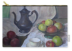 Silver Coffeepot, Apples And Fabric Carry-all Pouch