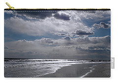 Carry-all Pouch featuring the photograph Silver Linings Trim The Sea by Lynda Lehmann