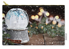 Silver Snow Globe With White Christmas Trees Carry-all Pouch