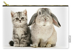 Silver Tabby And Rabby Carry-all Pouch