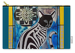 Silver Tabby With Mandala - Cat Art By Dora Hathazi Mendes Carry-all Pouch by Dora Hathazi Mendes