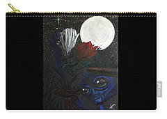 Carry-all Pouch featuring the painting Similar Alien Appreciates Flowers By The Light Of The Full Moon. by Similar Alien