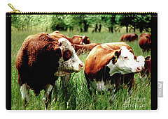 Simmental Bull And Hereford Cow Carry-all Pouch by Larry Campbell