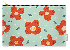 Simple Pretty Orange Flowers Pattern Carry-all Pouch