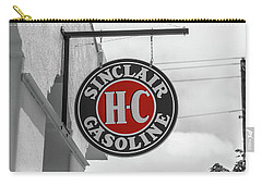 Carry-all Pouch featuring the photograph Sinclair Gasoline Round Sign In Selective Color by Doug Camara