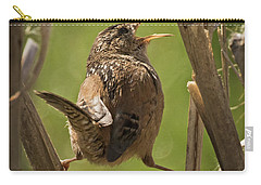 Singing Marsh Wren Carry-all Pouch by Inge Riis McDonald