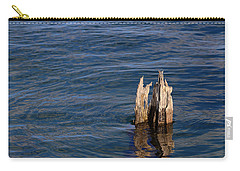 Carry-all Pouch featuring the photograph Single Old Piling Horizontal by Mary Bedy