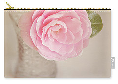 Carry-all Pouch featuring the photograph Single Pink Camelia Flower In Clear Vase by Lyn Randle