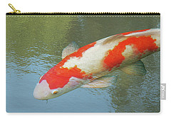 Single Red And White Koi Carry-all Pouch by Gill Billington
