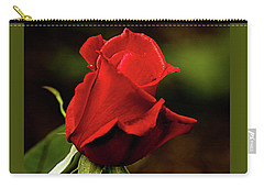 Carry-all Pouch featuring the photograph Single Red Rose Bud by Jacqi Elmslie