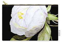 Single White  Bloom  Carry-all Pouch