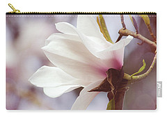Carry-all Pouch featuring the photograph Single White Magnolia by Jordan Blackstone