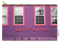 Carry-all Pouch featuring the mixed media Sit And Spin Laundromat Purple- By Linda Woods by Linda Woods