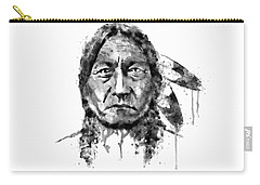 Carry-all Pouch featuring the mixed media Sitting Bull Black And White by Marian Voicu