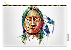 Sitting Bull Watercolor Painting Carry-all Pouch by Marian Voicu