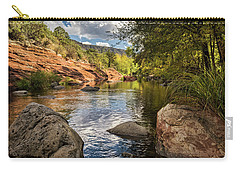 Carry-all Pouch featuring the photograph Sitting Creekside Oak Creek  by Saija Lehtonen