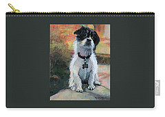 Sitting Pretty - Black And White Puppy Carry-all Pouch
