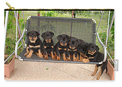 Six Rottweiler Puppies Lined Up On A Swing Carry-all Pouch by Tracey Harrington-Simpson