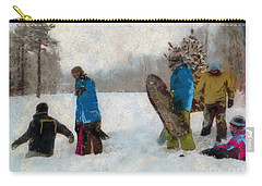 Six Sledders In The Snow Carry-all Pouch