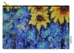 Six Sunflowers On Blue Carry-all Pouch