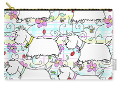 Six Westies In A Spring Plaid Carry-all Pouch by Debra Baldwin