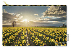 Carry-all Pouch featuring the photograph Skagit Daffodils Bright Sunstar Dusk by Mike Reid