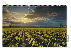 Carry-all Pouch featuring the photograph Skagit Daffodils Golden Sunstar Evening by Mike Reid